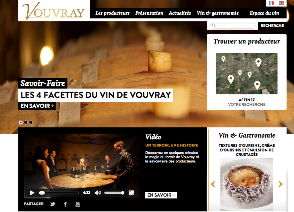 Site internet vins de Vouvray réalisation Monogramme maison de marketing
