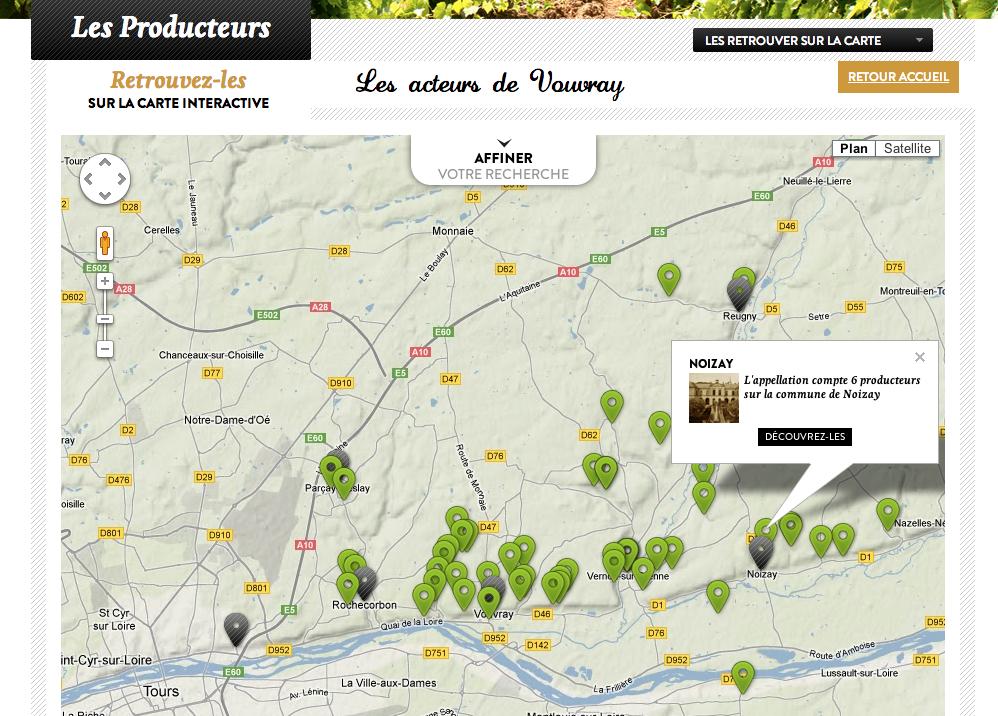 Carte Google Maps producteurs Vouvray